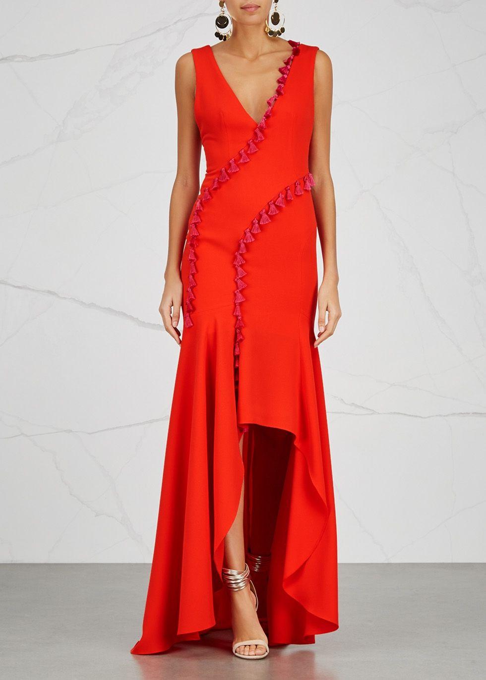 e3a9e4ccb3f Galvan Cuzco red tassel-trimmed gown