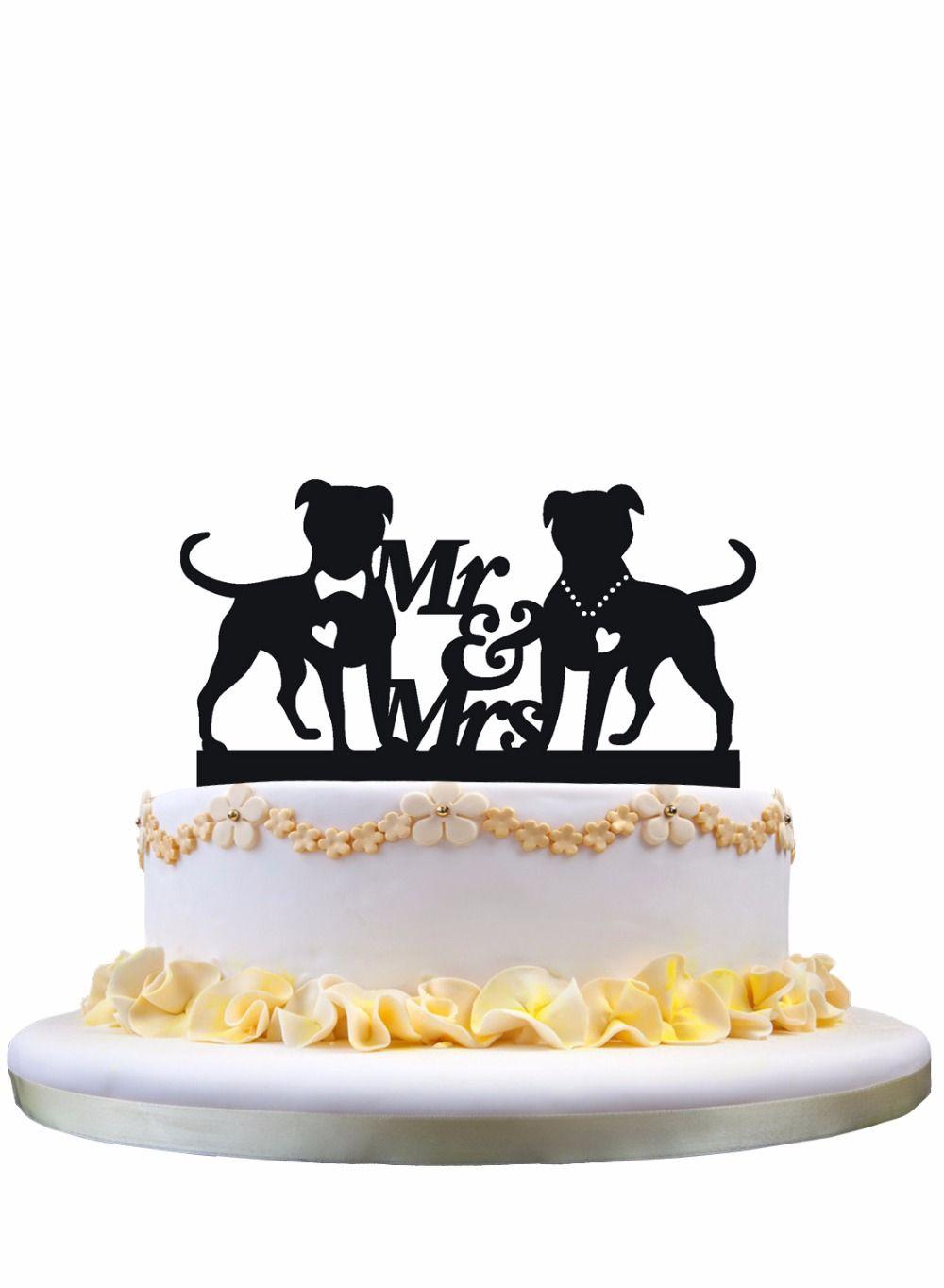 Meijiafei Script Mr /& Mrs Silhouette Wedding Cake Topper Dogs Wedding Cake Topper