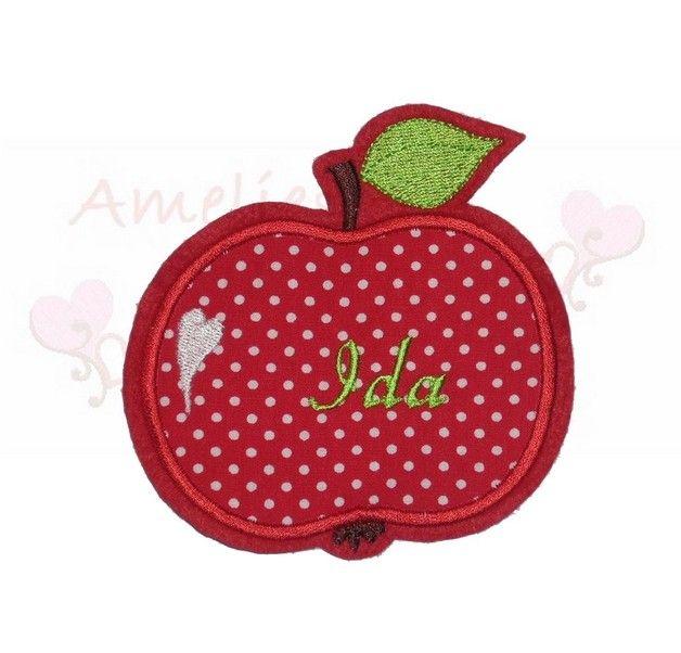 Aufnäher - Apfel Wunschname Applikation Aufnäher Flicken - ein Designerstück von amelies-welt-stickt bei DaWanda