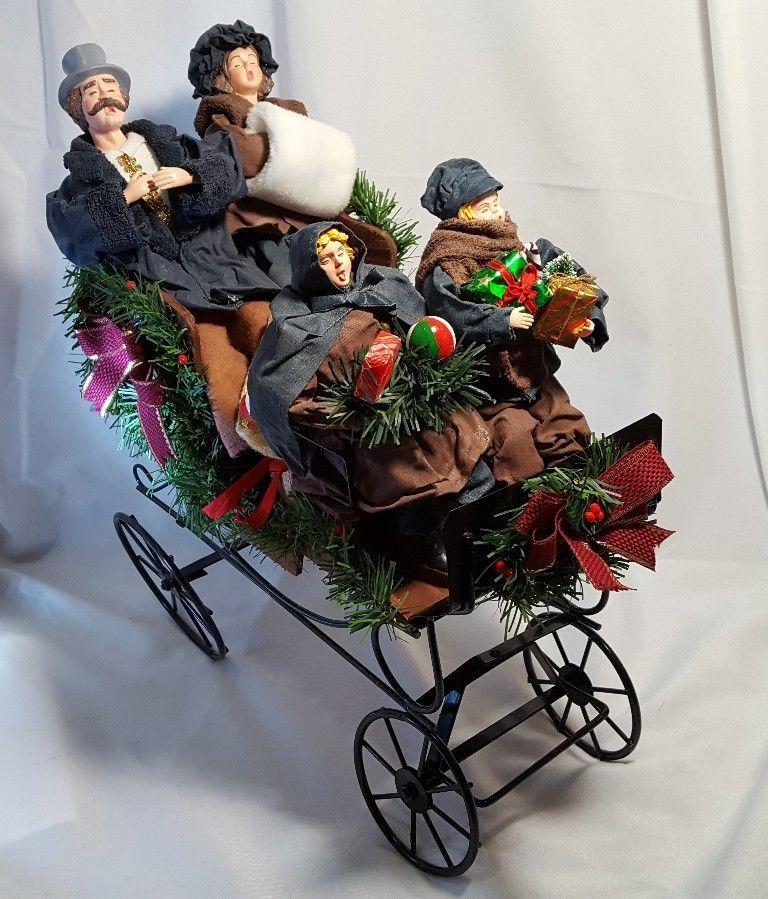 Christmas Carolers Black Metal Sleigh Victorian Christmas Holiday ...