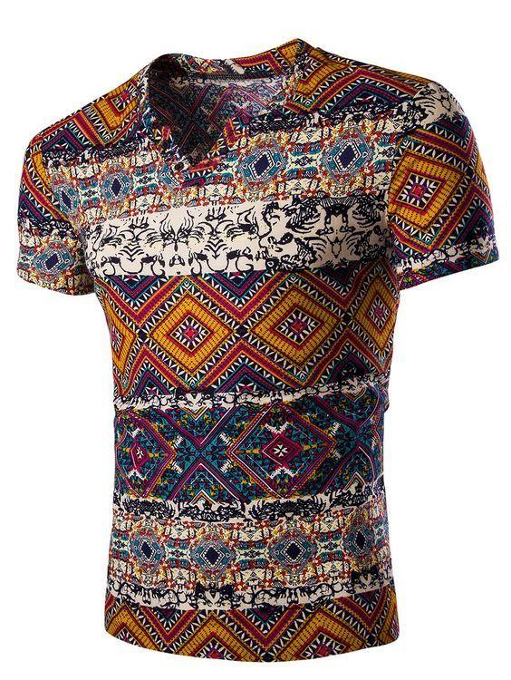 Tribal Print V Neck Tee Shirt