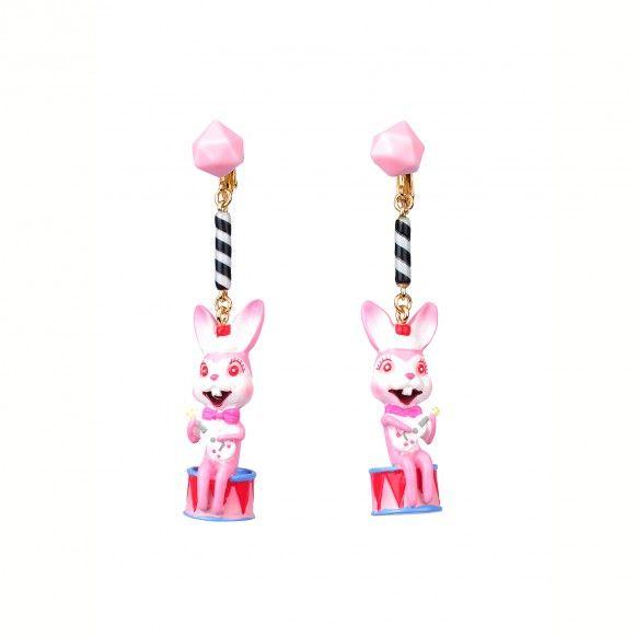 Boucles d'oreilles clip lapin musicien