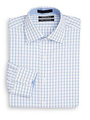 Saks Fifth Avenue Slim-Fit Grid Check Cotton Dress Shirt - White - Siz
