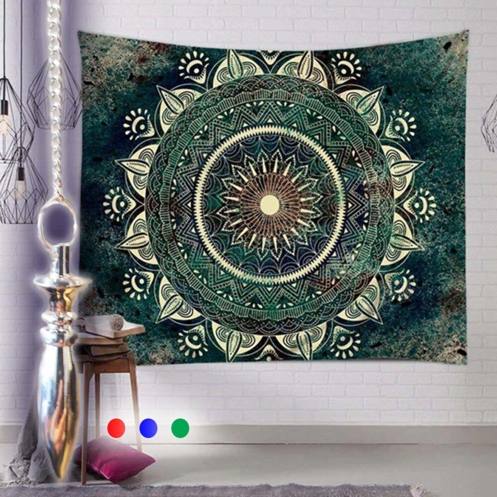Green Flower Mandala Tapestry / Table Cloth / Ceiling