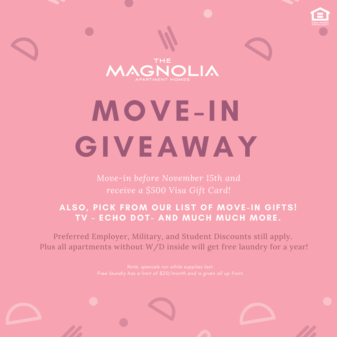 We Are Doing A Special Giveaway If You Move In Before November 15th You Will Automatically Receive A 50 Visa Moving Gifts Visa Gift Card Bedroom Floor Plans