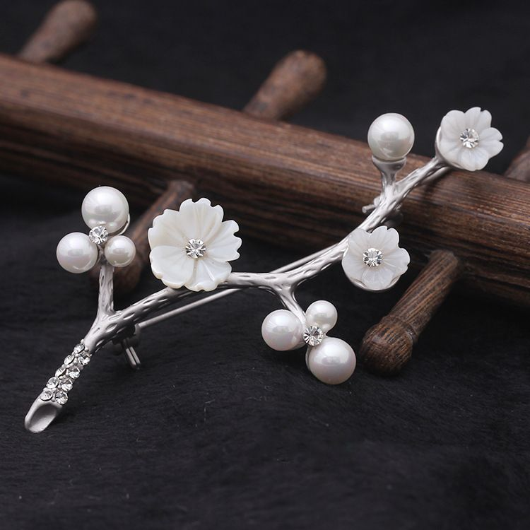 7ff39e657 ... brooch pins, Buy Quality brooch gift directly from China pin brooch  Suppliers: ALW Gold Platinum Plated Cherry blossoms Design Shell And Pearls  Brooches ...