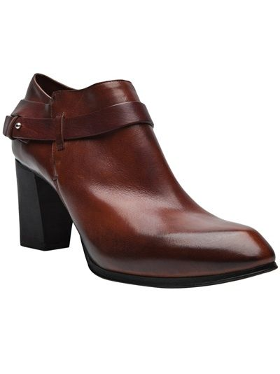Boot pump with strap in cudio from Costume National. This leather ankle pump features a pointed toe, adjustable wrap around strap and sits on a 3