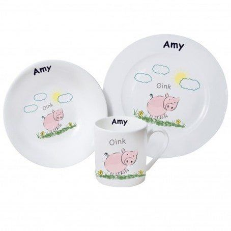 DINNER SET GIRL/'S BIRTHDAY CHRISTENING GIFT PERSONALISED GIRLS PONY BREAKFAST