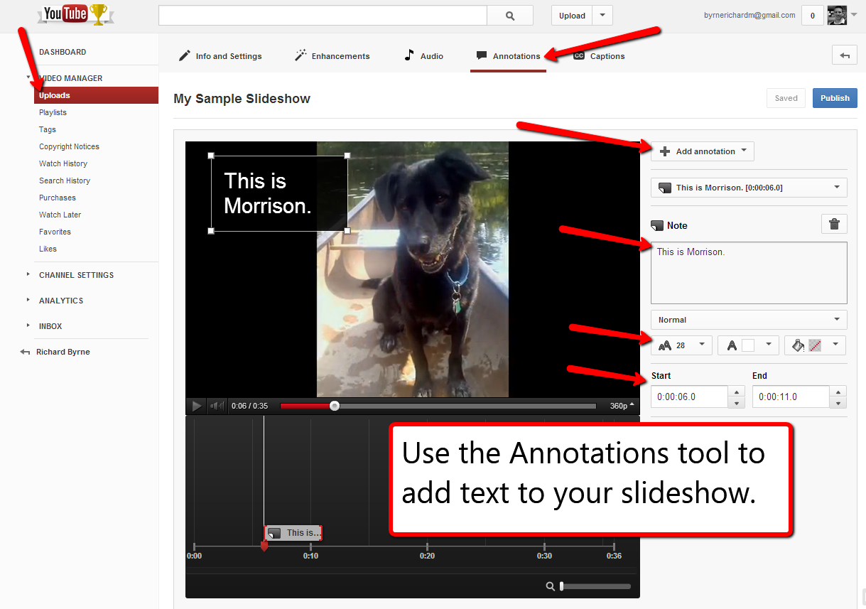 Free Technology for Teachers: How to Create Audio Slideshows in YouTube