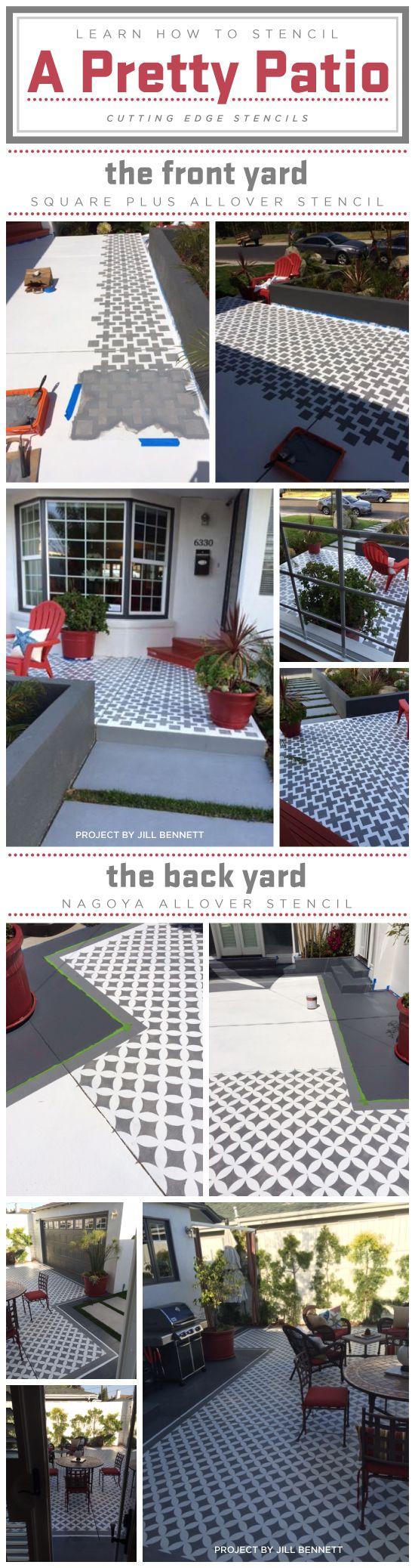 learn how to stencil a pretty patio pochoir sol pinterest jardins deco et ext rieur. Black Bedroom Furniture Sets. Home Design Ideas