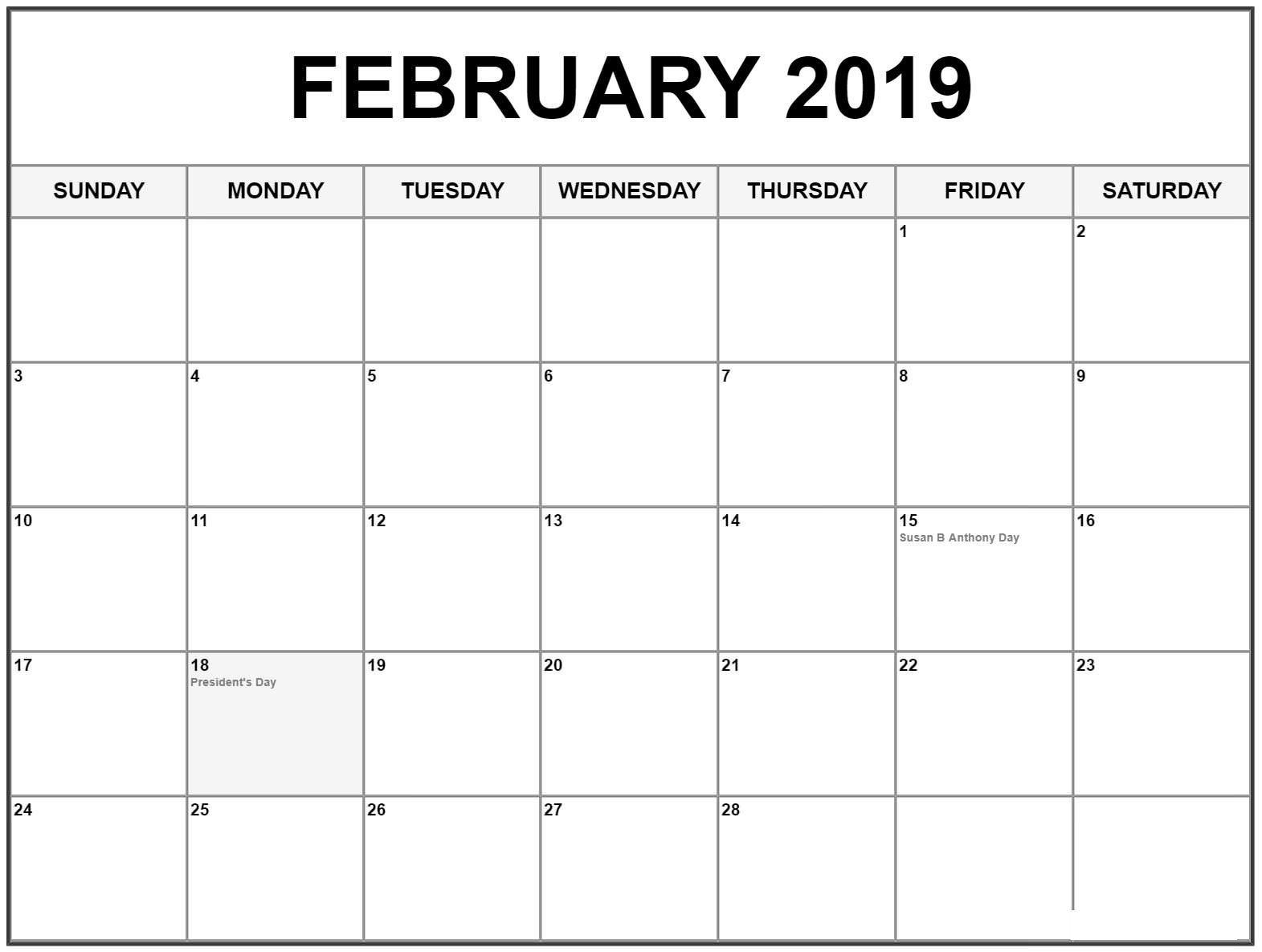 February 2019 Calendar Printable With American Holidays February 2019 Calendar With Holidays Dates | February 2019