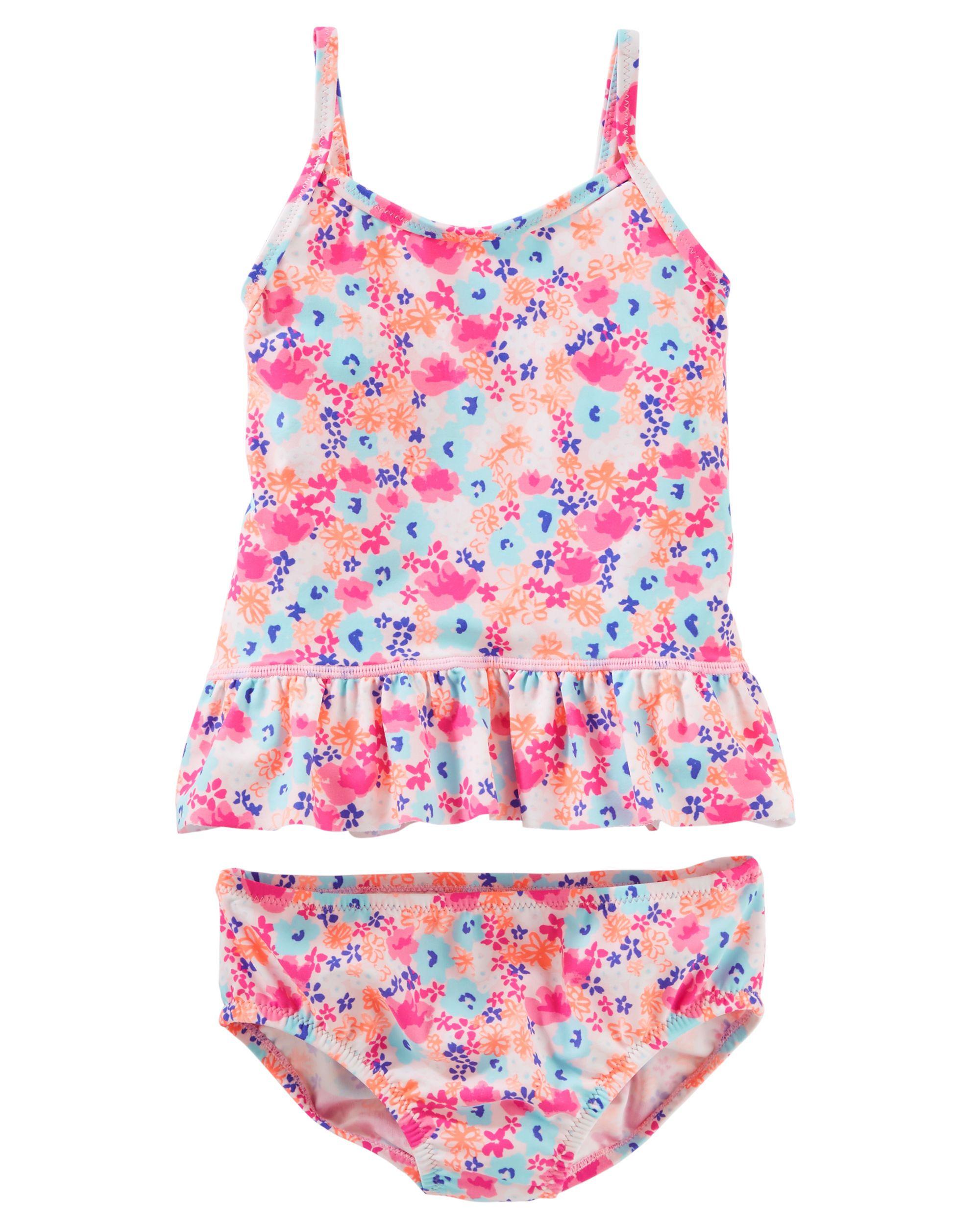 Osh Kosh Little Girls Two Piece Halter Tankini With Swim Short