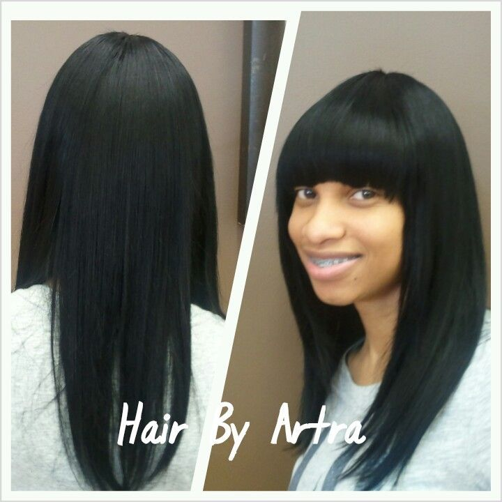 basic quick weave with Chinese bangs | Hair styles Artra Edwards
