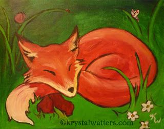 Cute Fox Painting By Krystal Watters For The Wine And Design Chapel