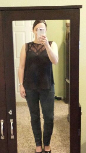 Stitchfix#4...Fun2fun Torrance lace detailed sleeveless blouse (L)  Very pretty maybe a bit to hig..but kept.