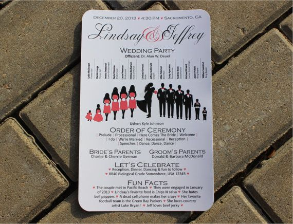 Basic Silhouette Wedding Program By Simpleandstunning2 On Etsy 1 60