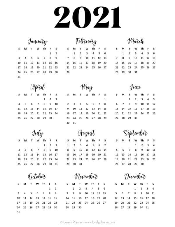 24 Free Printable 2021 year at a glance calendars. Stay ...