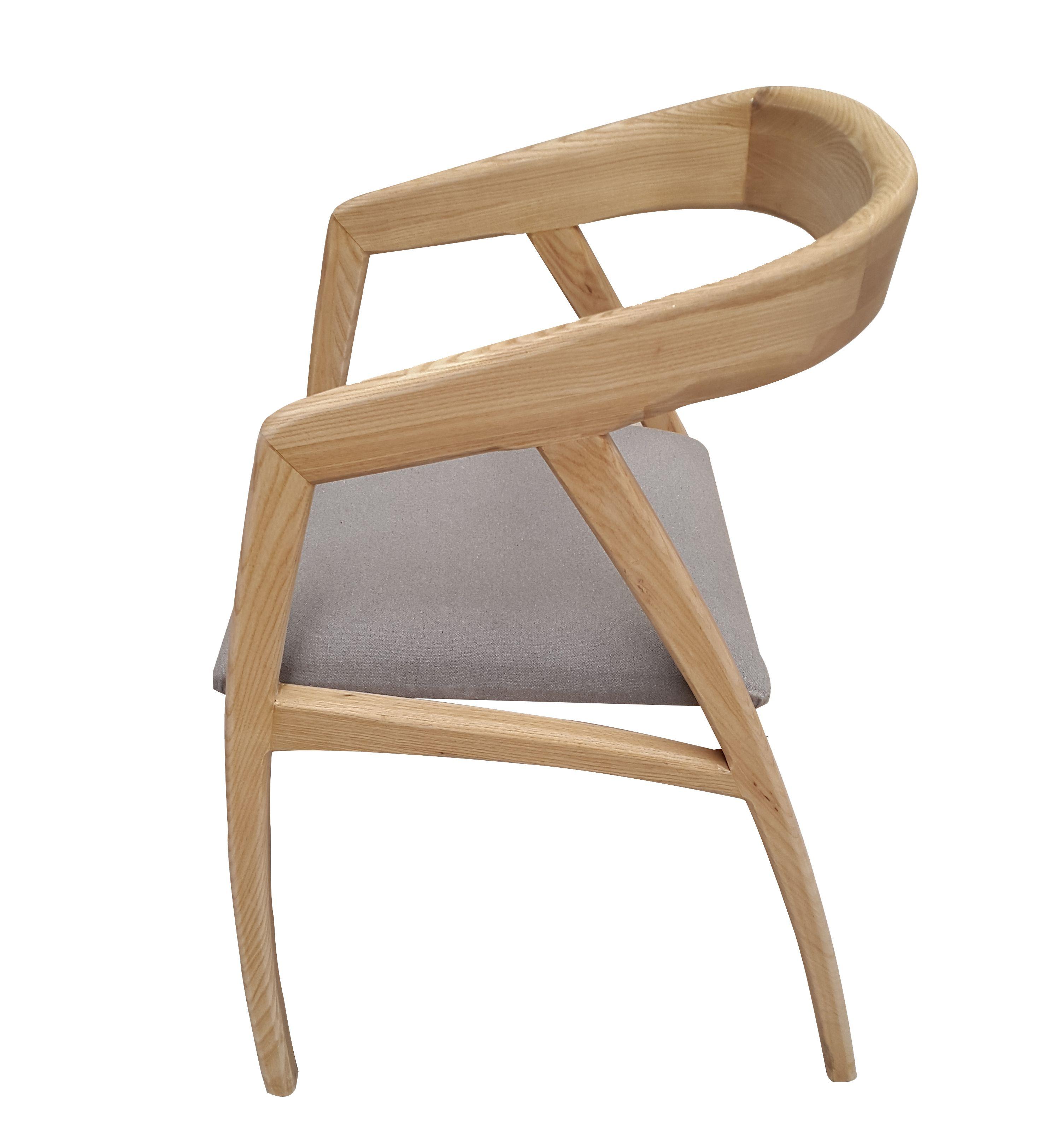 Silla curvas Silla de madera de fresno tapizada en tela gris