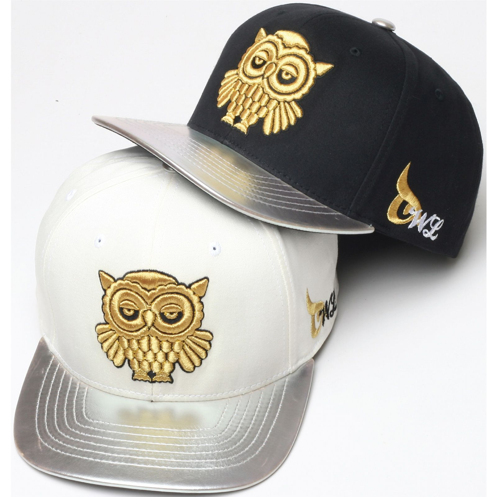 H39 Unique Shiny Gold Owl Embroidery Hiphop Bill Snapback Flat Hat