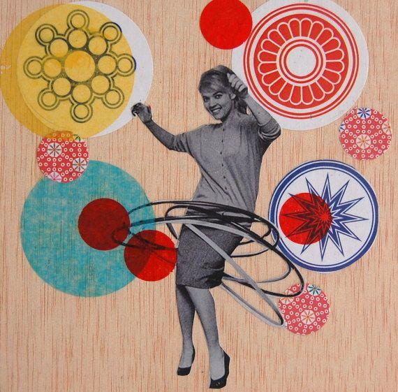 Hulla Girl Original Pop Collage On Wooden Artist Panel Retro Pop Hoop Art Collage