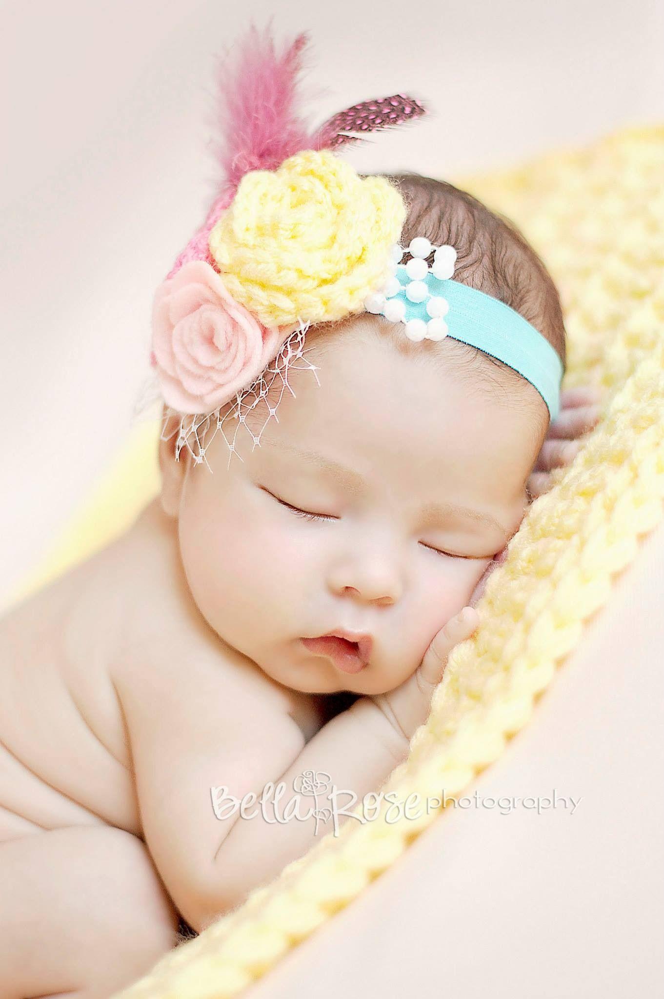 Pastels pink, aqua, yellow newborn baby girl ...