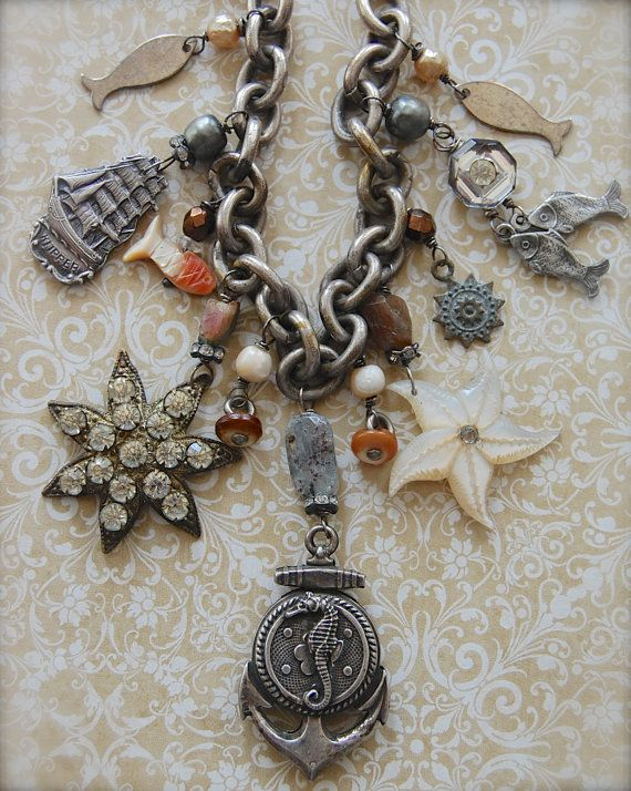 Out to Sea-antique vintage nautical theme assemblage necklace