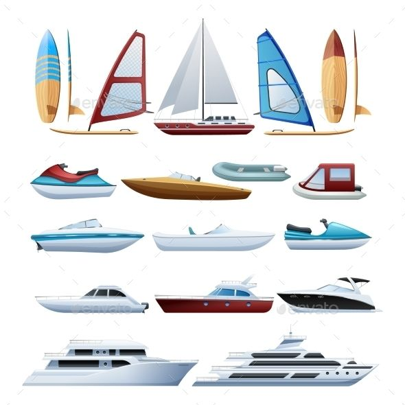 Boats And Windsurfer Flat Icons Set With Images Motor Boats