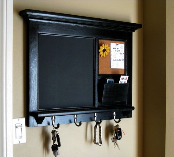 Home Decor Wall Hanging Mail Organizer Storage Cork Board Organizer  Chalkboard Furniture Storage Framed Key Hook