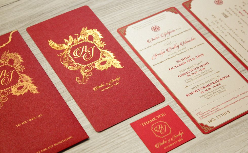 The Legend of Phoenix and Dragon Oriental Wedding Invitation by