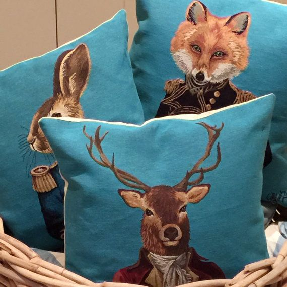 This combo is a set of 3 tapestry cushions showing a dressed fox, stag and hare. These really are must haves. They was designed on the basis