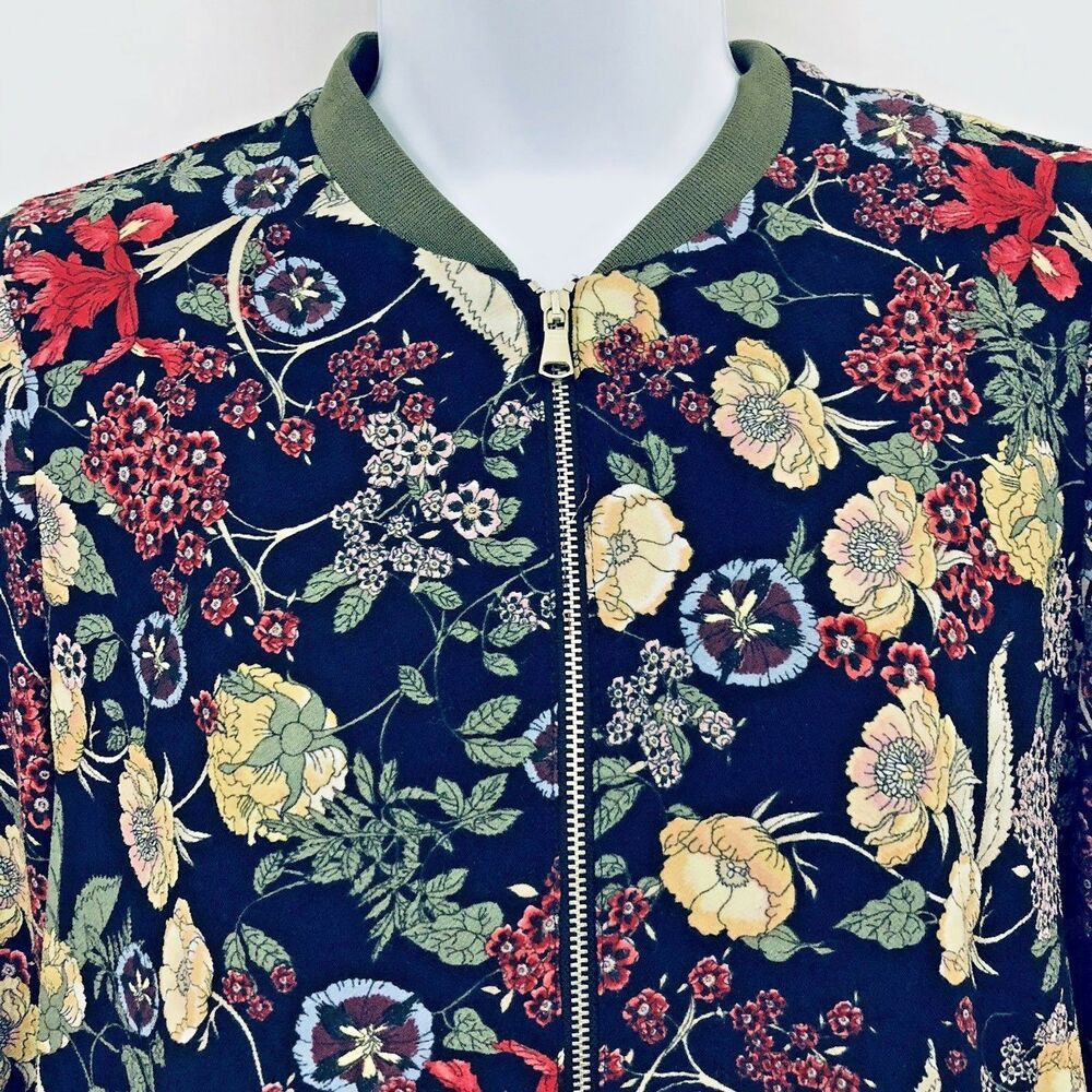 c07026120 TRF Zara Ladies Outerwear Floral Zip Bomber Jacket Lined wih pockets ...