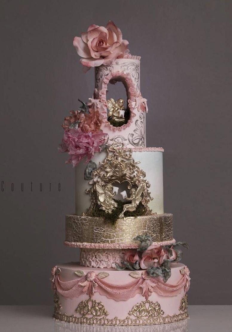 Wedding decorations white november 2018 Beautiful Pink u Gold Wedding Cake fondantcake  Top Cake