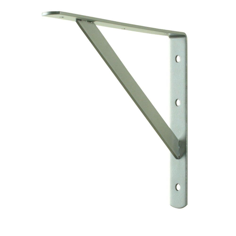 Everbilt 12 In X 8 In Satin Nickel Heavy Duty Shelf Bracket 14347 Heavy Duty Shelf Brackets Shelf Brackets