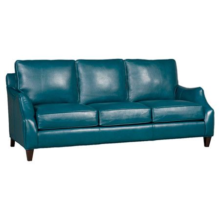 Upholstered In Rich Teal Hued Leather This Classic Sofa Brings A