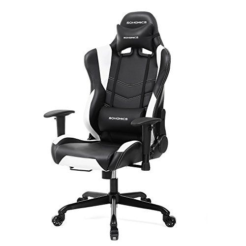 SONGMICS Racing Sport Chair Gaming Chair High Back Computer Chair With The  Headrest And Lumbar Support Black+White URCG12W