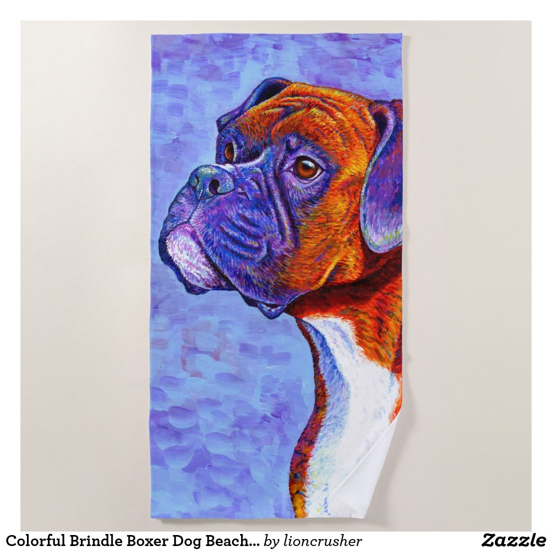 Colorful Brindle Boxer Dog Beach Towel Zazzle Com With Images
