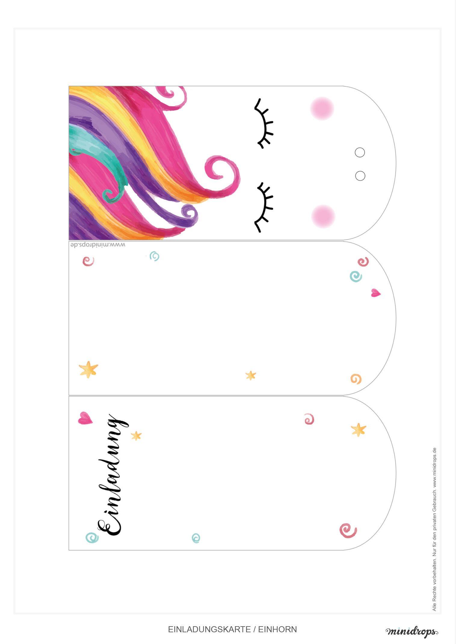 Süße Einhorn Einladungskarte zum Ausdrucken | Ausdrucken, Einhörner ...