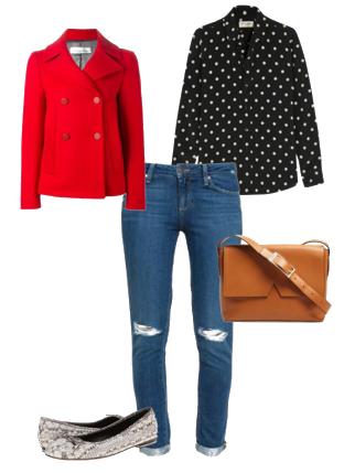 Capsule Closet   Abril 2016   Day 8 (Boyfriend jeans, pitton ballerinas, polka-dots blouse, red jacket, camel bag)