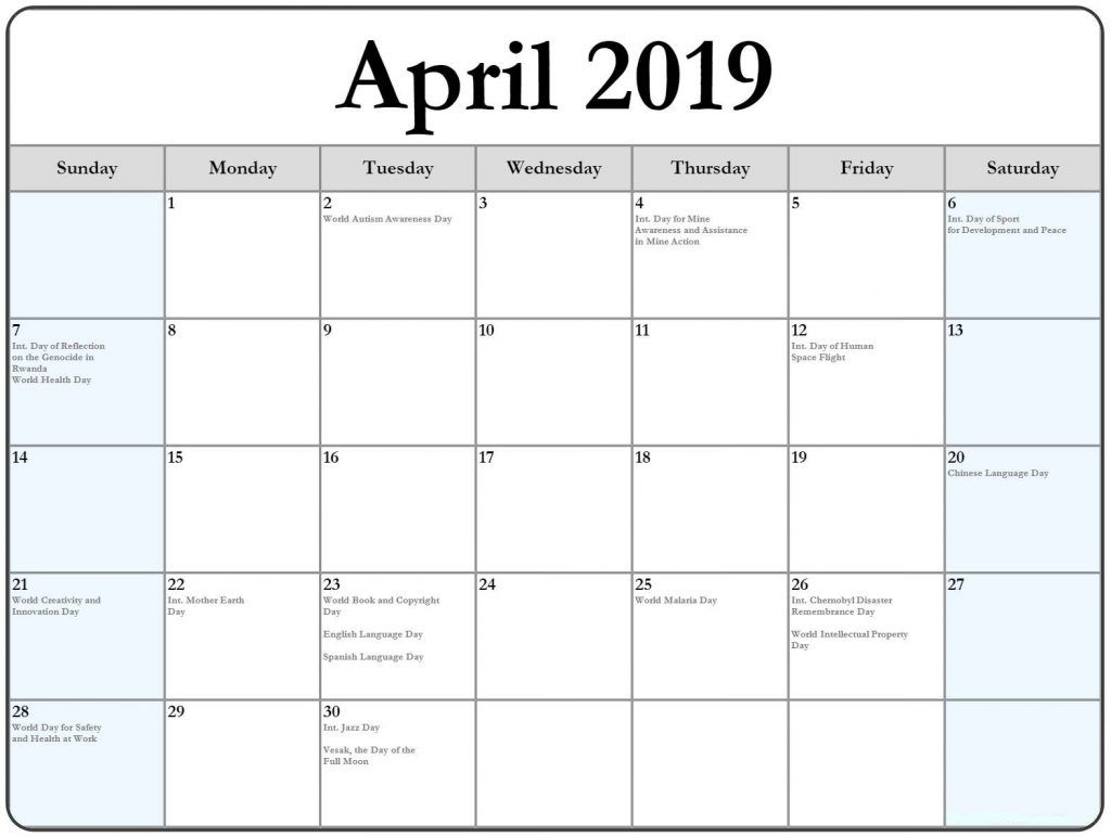 April 2019 Calendar Template Word Document 2019 Calendar