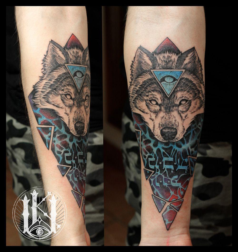 Tattoo Tatuaz Warszawa Warsaw Wilk Wolf 3rd Eye Lineart