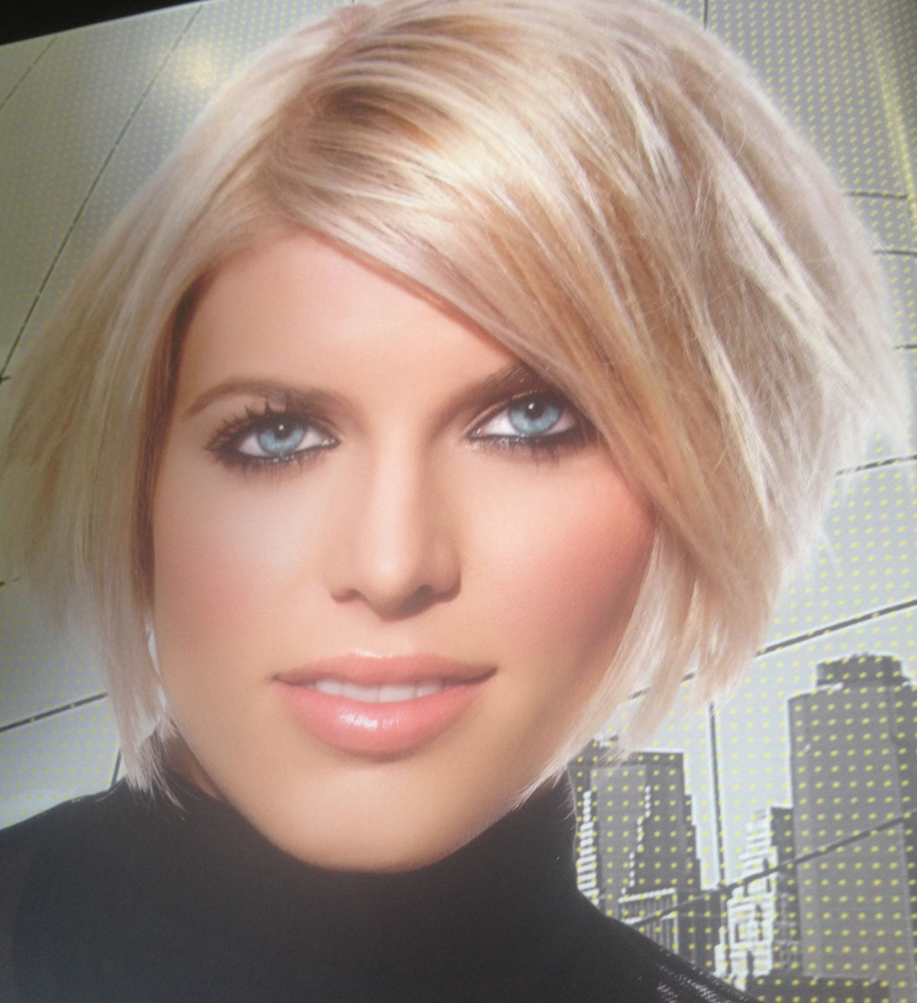 Short light blonde bob with layers