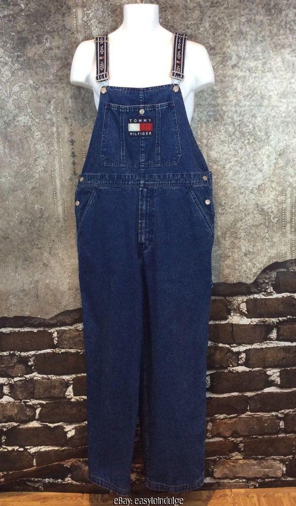 d6914468 Mens Blue Jean Bib Overalls Tommy Hilfiger Vintage 90s Size Large Logo  Straps #TommyHilfiger #Overalls #90s