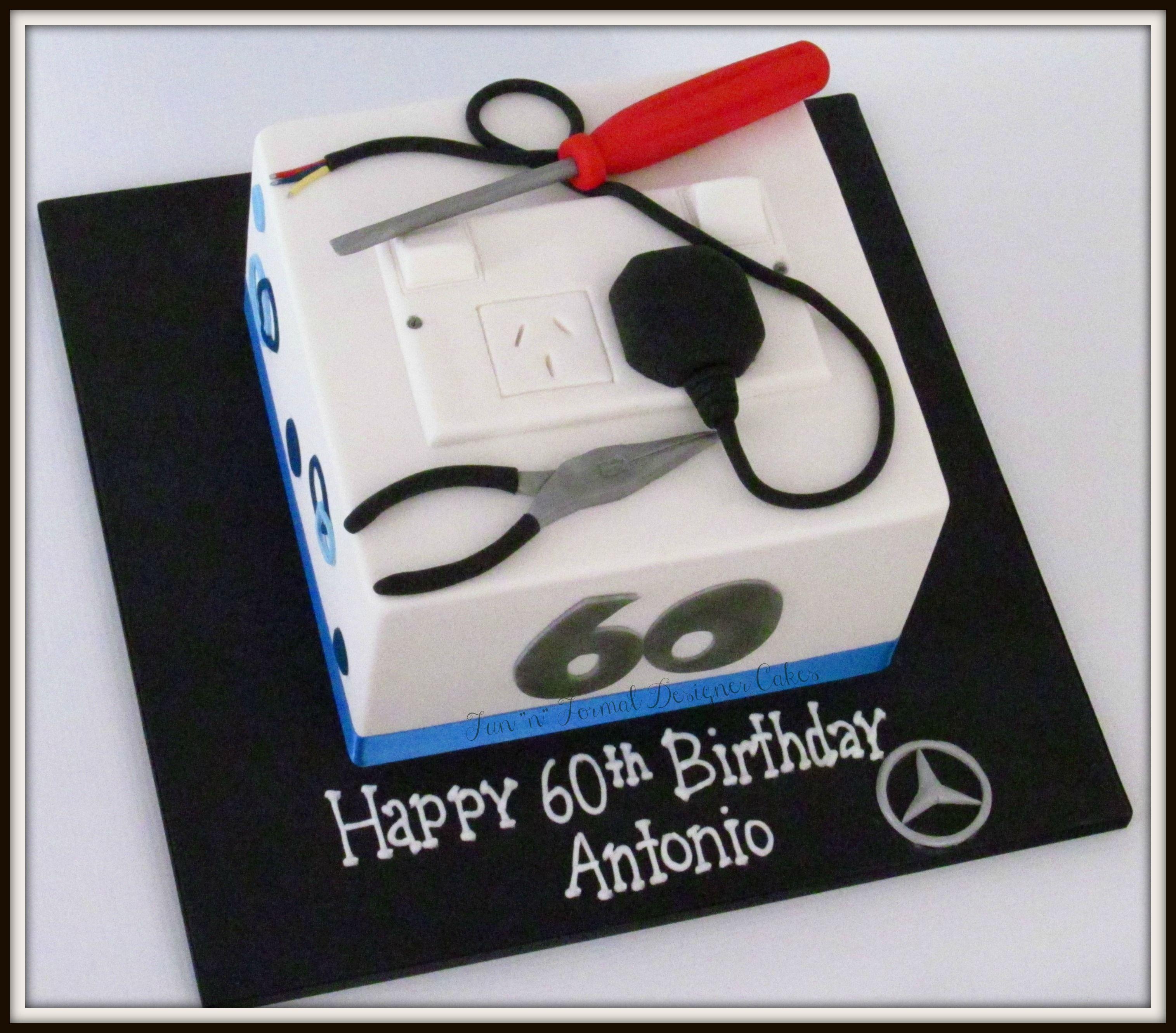 Electrician themed birthday cake. Novelty birthday cakes