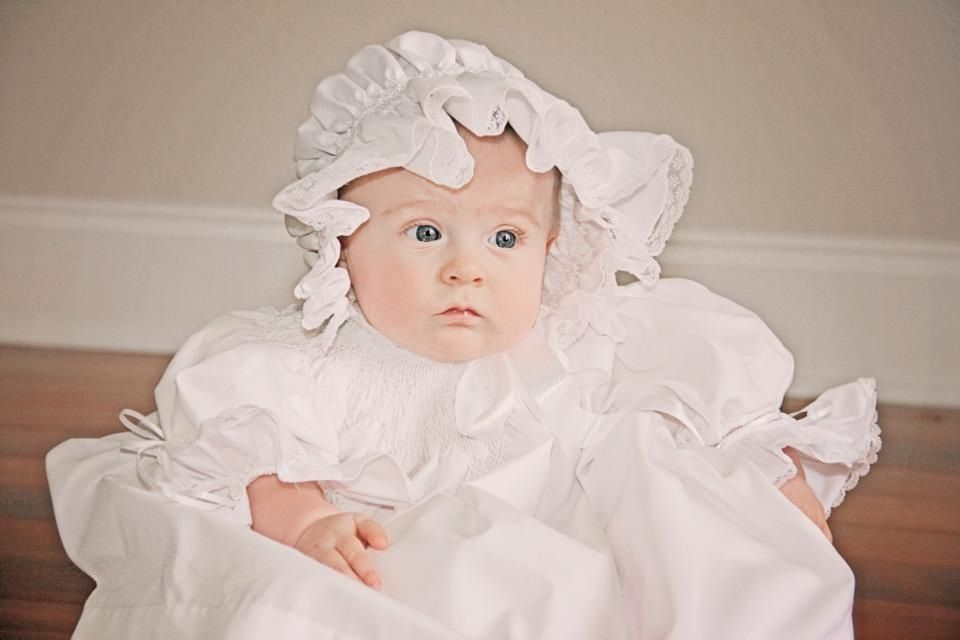 Baby with Christening gown and bonnet that I made