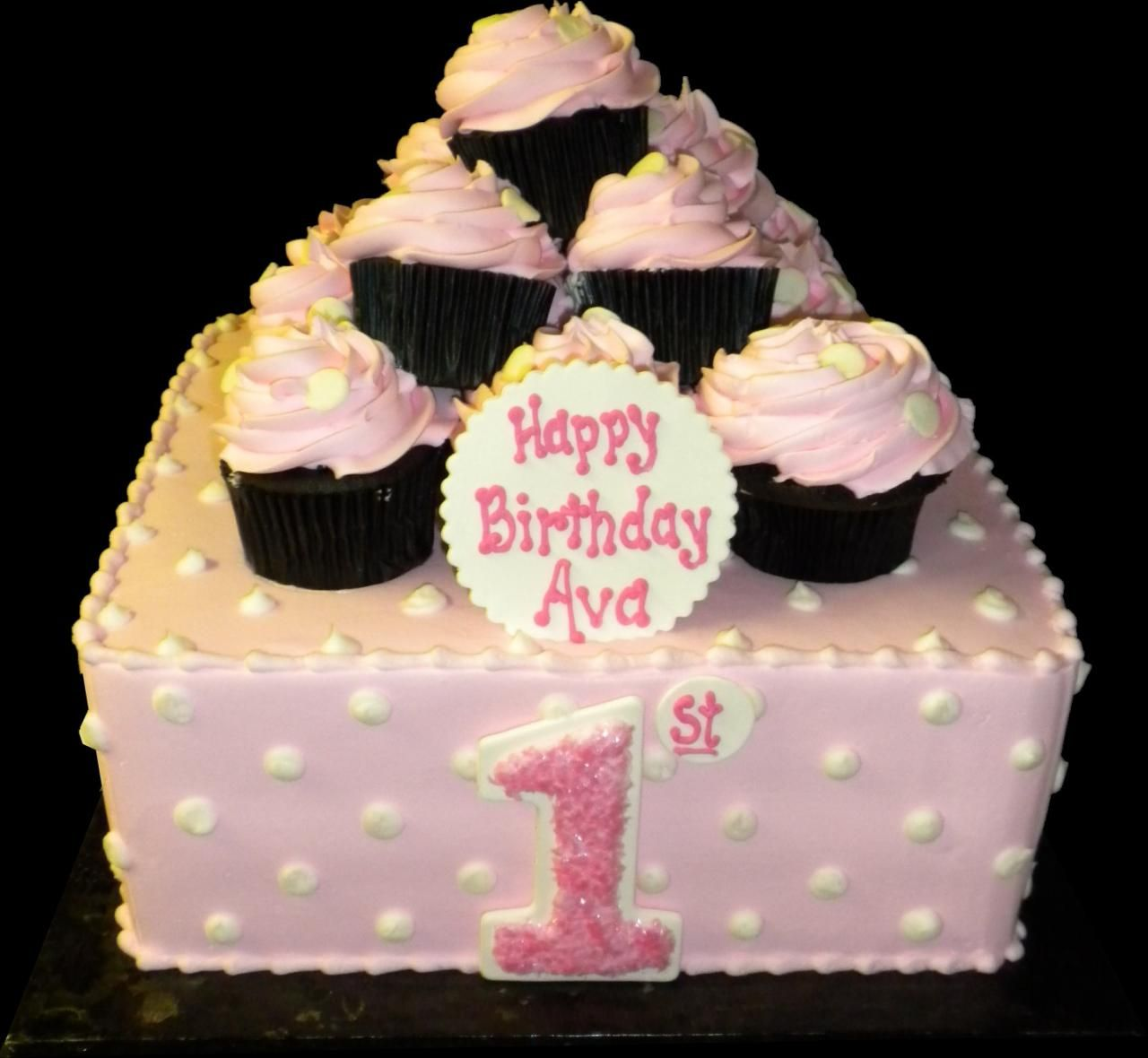 Pink Dotted Cupcake 1st Birthday Cake Pink buttercream iced square