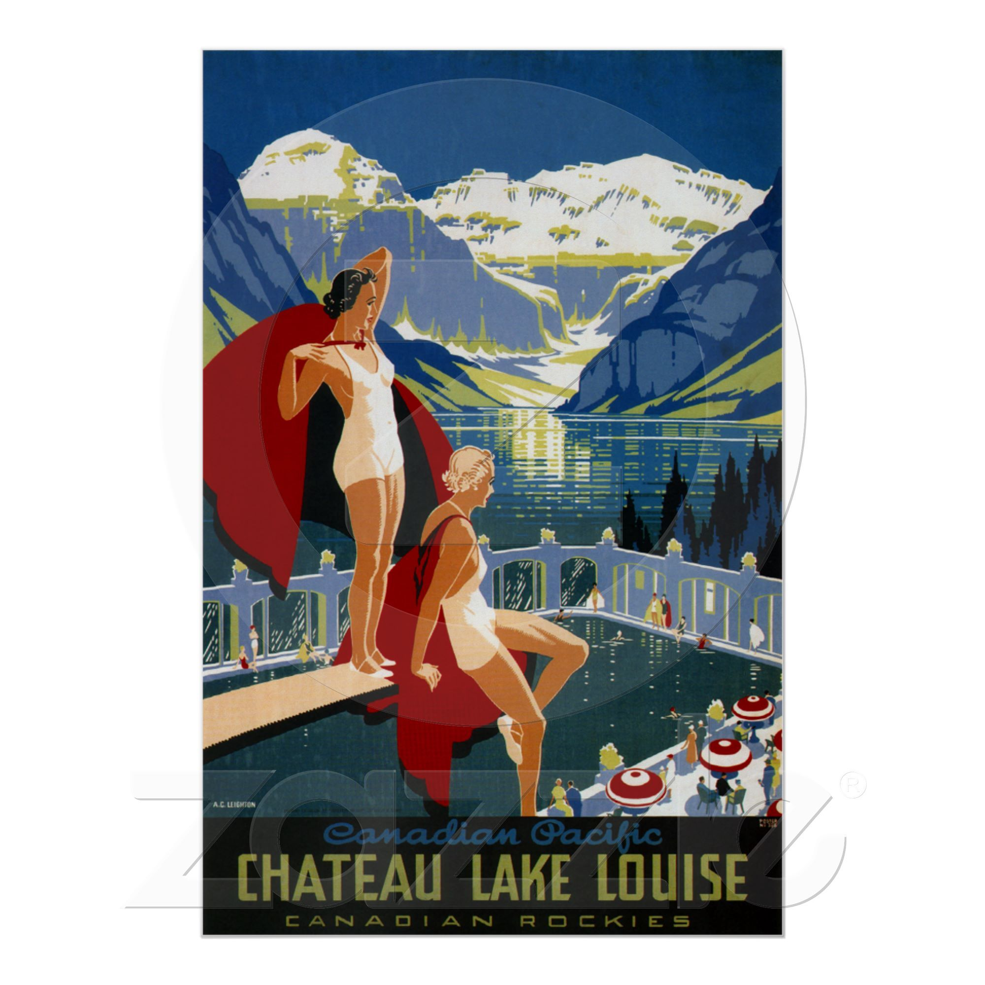 Canada Banff Lake Louise Vintage Poster Print Travel Canadian Mountie Rockies