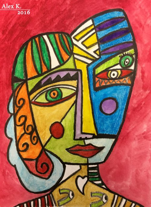 Like Picasso :) Cubism face… | Alexander Klein Art in 2019 ...  Like Picasso :)...