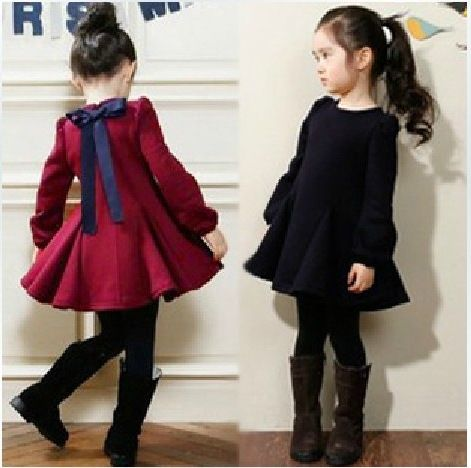 ecd1e153d0c Robe de princesse enfant vêtements bébé fille épaissir arc à manches  longues robe velours enfants robes d hiver pour les filles