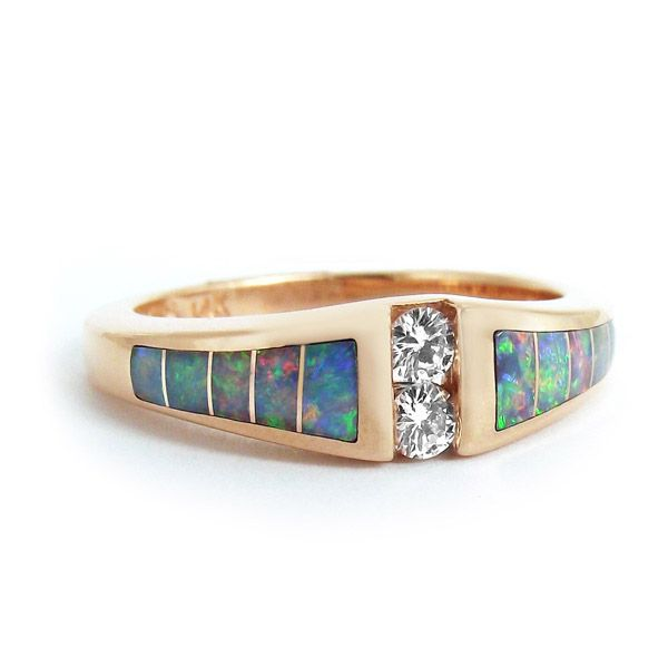 Kabana Diamond and Opal Ring in 14K Rose Gold My passion Jewelry