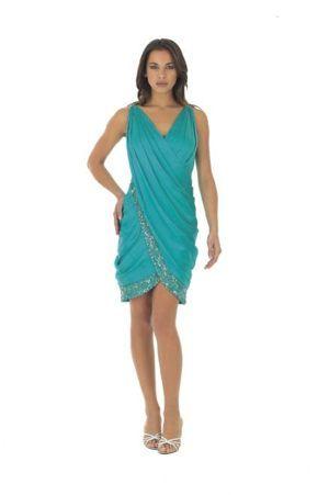 aqua cocktail dress with sleeves | Clearance Crescent Beach Florida V-neck Beaded Aqua Blue Dress for ...